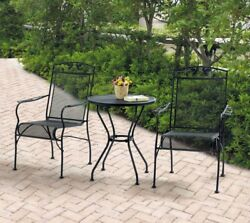 Patio Furniture Table Chairs Set Garden Wrought Iron 3 Piece Bistro Outdoor Deck