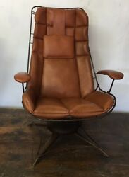 Vintage Mid Century Homecrest Wire Patio Lounge Chair with original Tan cushion
