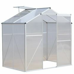 Giantex 4 x6 ft Walk in Greenhouse with Clear Cover Heavy Duty Polycarbonate ...