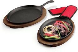6 Piece Tramontina Fajita Pan Set Durable Oven Safe Up To 450F Includes Wood
