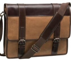 Johnston Murphy Flap Over Briefcase Laptop Bag Leather Tan NWT $425 See Pics