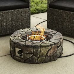 Stone Design Fire Pit Outdoor Home Patio Gas Firepit Fireplace Heater Propane