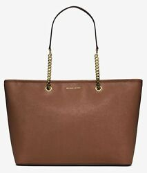 NEW MICHAEL KORS Saffiano Leather chain strap Tote Large Laptop business Bag