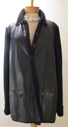 Hermes Black Lambskin and Cashmere Sweater Jacket