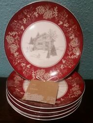 222 Fifth Rustic Country Xmas Holiday 8 Andover Appetizer Plates Red Log Cabin