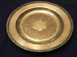 ANTIQUE GORHAM HEAVY SILVER ON COPPER 719 ORNATE BUTLER'S TRAY 9.5