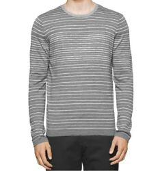 Calvin Klein Men's Color Striped Merino Wool Blend Pullover Sweater RedGray