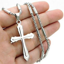 Silver Cross Men Stainless Steel Charm Pendant tube box 22quot; Chain Necklace Set $12.99