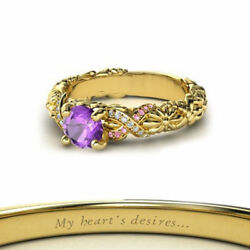 1.20 Ct Round Amethyst Rapunzel Princess Ring In 18K Yellow Gold Over