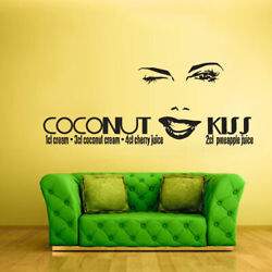 Wall Vinyl Sticker Bedroom Words Sign Quote Coconut Kiss Face Lips Z1125 $26.09