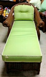 Frontgate Charleston Wicker Outdoor Chaise Lounge Chair with Cushion Green $1700