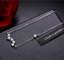 Micro-inlay Cubic Zirconia 925 Sterling Silver Stars Simulation Pendant Necklace
