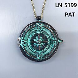 Long Antique Patina Finished Compass Design 5X Magnifying Glass Pendant Necklace $13.99
