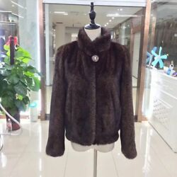 Whole Skin Real Import Mink Fur Coat For Women Stand Collar Leopard Warm Jacket