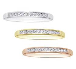 2.00 CT Round Cut Real Diamond In 14k Solid Gold Wedding Anniversary Band Ring
