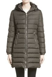 New Authentic 2017 Moncler Orophin Long Puffer Coat wleather Trim Nwt Olive