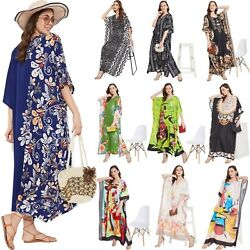Women Kaftan Kimono Dress Summer Beach Wear Cover Up Plus Size Long Maxi Dress $19.99
