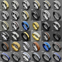 8Mm Gold Black Silver CZ brushed Tungsten Carbide Ring Wedding Band Mens Jewelry $11.99