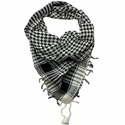 Black & White Lightweight Tactical Military Shemagh Neck Scarf Shawl Wrap