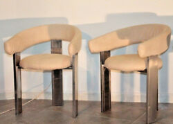 two modernist chairs 1970s in the style of Afra & Tobia Scarpa design