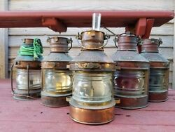 ANTIQUE NAUTICAL PORT amp; STARBOARD COPPER OIL LAMP LANTERNS BY TUNG WOO HONG KONG $850.00