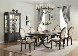 Dining Walnut Finish Modern Style Rustic Touch 7pc Set Dining Room Furniture