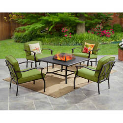 Garden 5 Piece Steel Conversation Sets Outdoor Patio FirePit Table Chairs Green