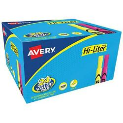 Avery HI LITER Desk Style Highlighters Yellow amp; Pink Chisel Tip Markers 24 ct. $12.29
