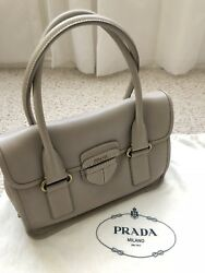 Authentic Prada Handbag In Light Etoupe