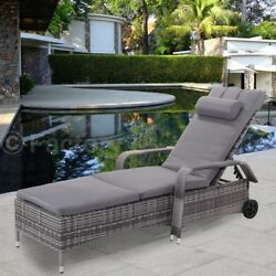 Outdoor Rattan Adjustable Cushioned Lounge Chair