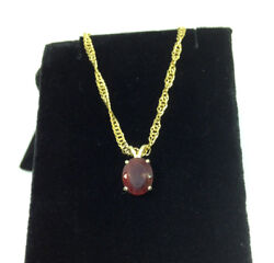14K Solid Yellow Gold 8 x 10mm Reddish Green Andesine Pendent 2.18Ct OBO