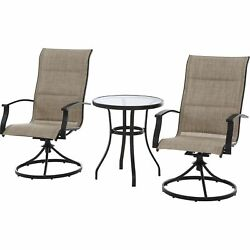 3PC Patio Garden Bistro Set Steel Pool Furniture Round Table Swivel Armchairs