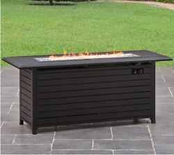 Fire Pit Table Outdoor Patio Rectangular 57