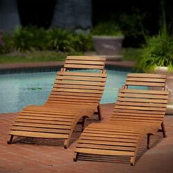 Chaise Lounges Portable Patio Chair Acacia Wood Fold Easy Storage Poolside Set 2