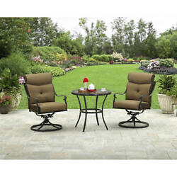 Rust-Proof 3-Piece Patio Garden Bistro Set Furniture Table Swivel Rocker Chairs