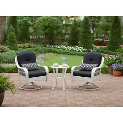 White Wicker 5CS Patio Garden Bistro Set Furniture Table Swivel Chairs Pillows