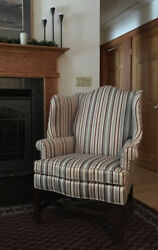 Pair (2) Striped Hickory Hill James River Townsend Wing Back Chair Wingback