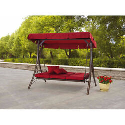 Outdoor Patio Canopy Swing Pillows Set Chair Metal 3-Person Garden Furniture Kit