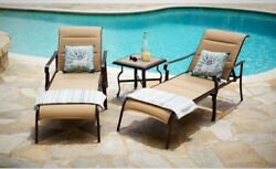 Hampton Bay Belleville Padded Sling Outdoor Chaise Lounge (One Pack)