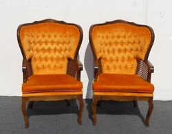 Pair Vintage Mid Century Tufted Orange Wing Back Accent Chairs French Provincial
