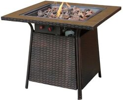 UniFlame Bronze Faux Wicker 32 in. Propane Gas Fire Pit with Ceramic Tile