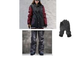 D202 Men Ski Snow Snowboard Winter Waterproof Jacket+Pants+Gloves S M L XL XXL