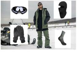 D125 Men Ski Snowboard Jacket+Pants+Gloves+Goggle+Balacalava+Socks S M L XL XXL