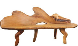 73''L Free Form Teak Wood  Garden Bench- One of a Kind!
