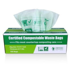 Compost Bags 3 Gallon Green Biodegradable Food Waste Compostable Bag 100 Count $22.96
