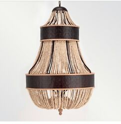 """New Shine By SHO Wood Beaded Ball Chandelier And Black Metal Detail 36"""" Diameter $7399.00"""