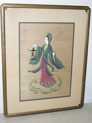 Majel Warfield Chinese Nightingale Signed Art Deco Watercolor on Silk Painting