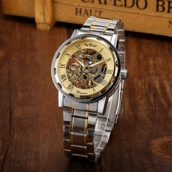 Men#x27;s Hand winding Mechanical Stainless Steel Transparent Skeleton Wrist Watch $17.99