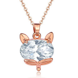 Women Rose Gold Plated Cute Fox Animal Crystal Pendant Necklace Fashion Jewelry