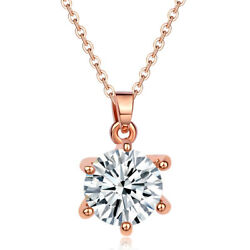 Women Rose Gold Plated Round CZ Crystal Sweater Pendant Necklace Fashion Gift